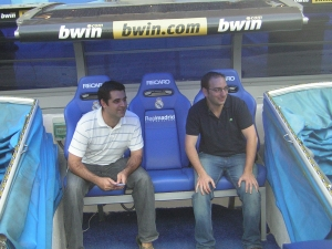 Ken and Max watching from the Bernabeu dugout